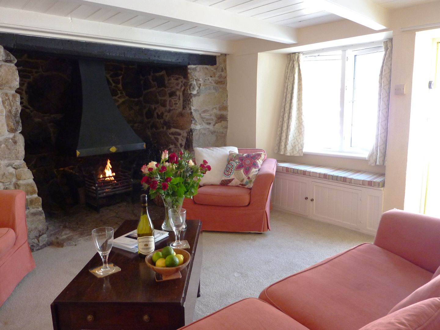 April Cottage Coverack Lounge With Open Fire