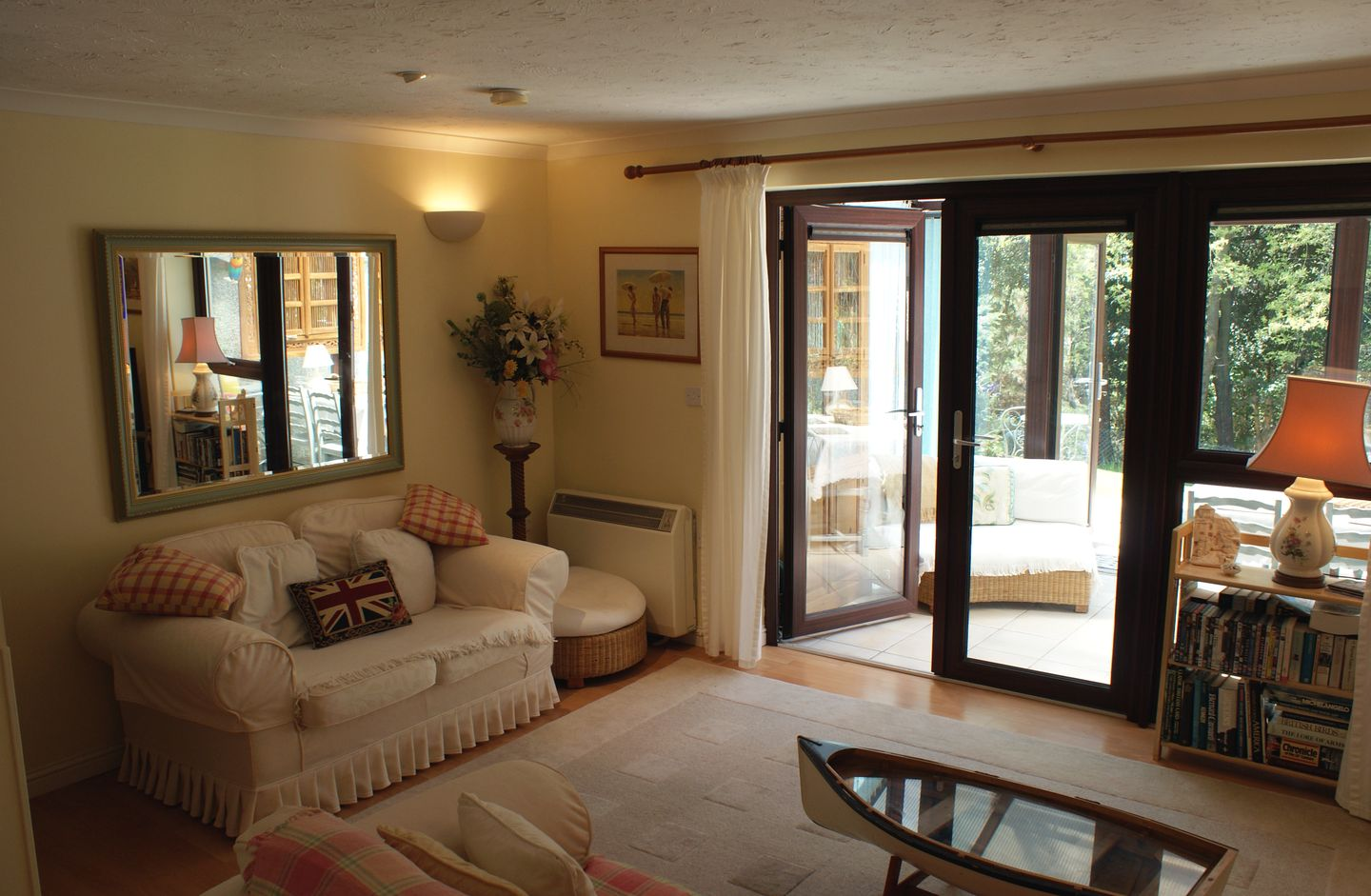 Duck Bay Maenporth Living Room With French Doors